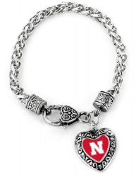NEBRASKA COLLEGE HEART BRACELET