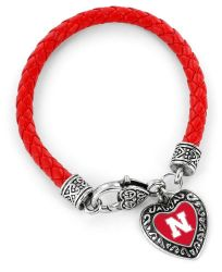 NEBRASKA (RED) COLLEGE BRAIDED BRACELET