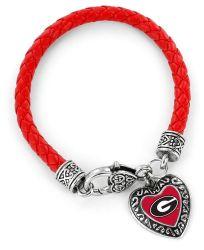 GEORGIA (RED)COLLEGE  BRAIDED BRACELET
