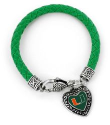MIAMI (GREEN) COLLEGE BRAIDED BRACELET