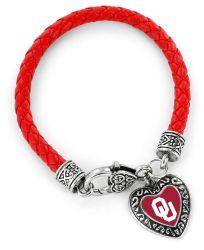 OKLAHOMA (RED) COLLEGE BRAIDED BRACELET