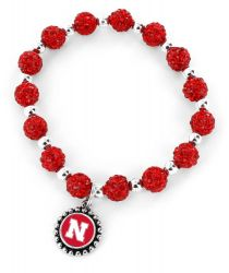NEBRASKA (RED) COLLEGE PEBBLE BEAD STRETCH BRACELET