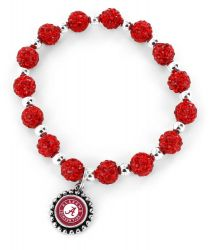 ALABAMA (RED) COLLEGE  PEBBLE BEAD STRETCH BRACELET