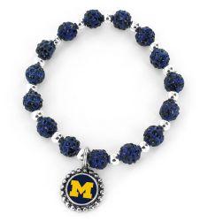 MICHIGAN (NAVY BLUE) COLLEGE PEBBLE BEAD STRETCH BRACELET