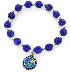 KANSAS (BLUE) UNIVERSITY PEBBLE BEAD STRETCH BRACELET