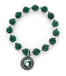 MICHIGAN STATE (GREEN) COLLEGE PEBBLE BEAD STRETCH BRACELET