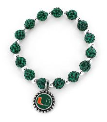 MIAMI (GREEN) COLLEGE PEBBLE BEAD STRETCH BRACELET