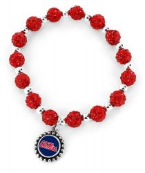 OLE MISS (RED) COLLEGE PEBBLE BEAD STRETCH BRACELET