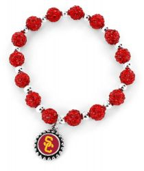 USC (RED) PEBBLE BEAD STRETCH BRACELET