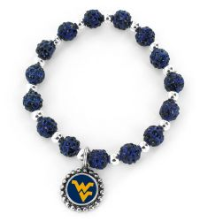 WEST VIRGINIA (NAVY BLUE) PEBBLE BEAD STRETCH BRACELET