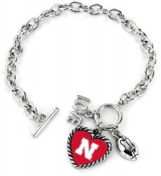 NEBRASKA LOVE FOOTBALL BRACELET