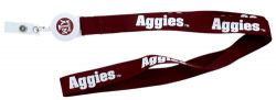 TEXAS A & M BADGE REEL WITH (RED) LANYARD
