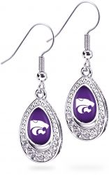 KANSAS STATE CRYSTAL TEARDROP EARRINGS (OC)