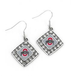 OHIO STATE CRYSTAL DIAMOND EARRINGS