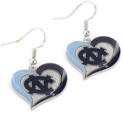 NORTH CAROLINA SWIRLHEART EARRINGS (DARK BLUE LOGO)