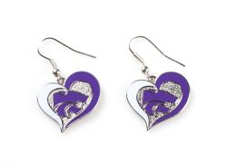KANSAS STATE SWIRL HEART EARRINGS
