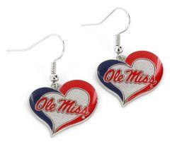 OLE MISS SWIRL HEART EARRINGS