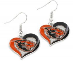 OREGON STATE (BEAVER HEAD) SWIRL HEART EARRINGS