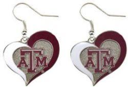 TEXAS A&M HEART SWIRL HEART EARRINGS