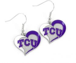 TCU SWIRL HEART EARRINGS