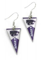 KANSAS STATE PENNANT EARRINGS