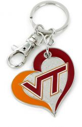 VIRGINIA TECH SWIRL HEART KEYCHAIN