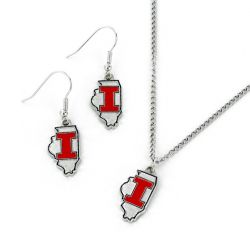 ILLINOIS STATE DESIGN EARRINGS & PENDANT SET