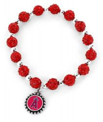 ANGELS (RED) PEBBLE BEAD STRETCH BRACELET