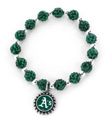 ATHLETICS (GREEN) CHARMED PEBBLE BEAD STRETCH BRACELET