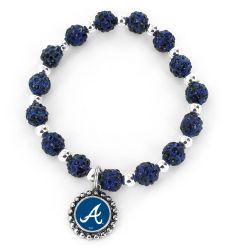 BRAVES (NAVY BLUE) PEBBLE BEAD STRETCH BRACELET