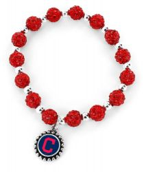 INDIANS (RED) PEBBLE BEAD STRETCH BRACELET