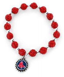 RED SOX (RED) PEBBLE BEAD STRETCH BRACELET