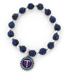 TWINS  (NAVY BLUE) PEBBLE BEAD STRETCH BRACELET