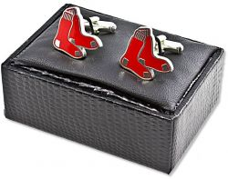 RED SOX CUTOUT CUFF LINKS WITH BOX