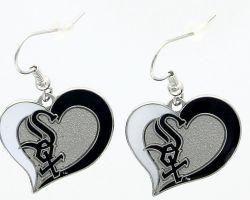 WHITE SOX SWIRL HEART EARRINGS
