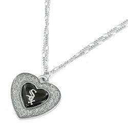 WHITE SOX GLITTER STONE HEART NECKLACE (2-IN-1 CHAIN)