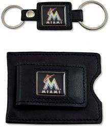 MARLINS 2 PC LEATHER SET VALET KEY RING & MONEY CLIP