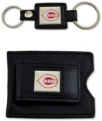 REDS 2 PC LEATHER SET VALET KEY RING & MONEY CLIP