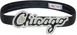 WHITE SOX SEQUINS & BEADS ELASTIC HEAD BAND