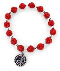 RAPTORS (RED) PEBBLE BEAD STRETCH BRACELET