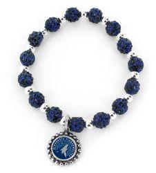 TIMBERWOLVES (NAVY BLUE) PEBBLE BEAD STRETCH BRACELET