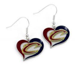 CAVALIERS SWIRL HEART EARRINGS