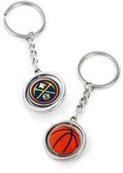 NUGGETS RUBBER BASKETBALL SPINNING KEYCHAIN (KT-251)
