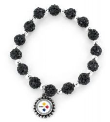 STEELERS (BLACK) PEBBLE BEAD STRETCH BRACELET