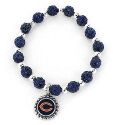 BEARS (NAVY BLUE) PEBBLE BEAD STRETCH BRACELET