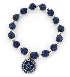 COWBOYS (NAVY BLUE) PEBBLE BEAD STRETCH BRACELET