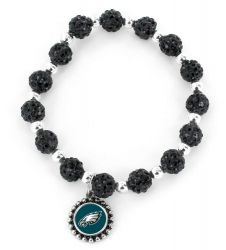 EAGLES (BLACK) PEBBLE BEAD STRETCH BRACELET