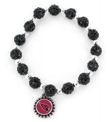 CARDINALS (BLACK) PEBBLE BEAD STRETCH BRACELET