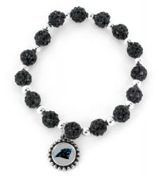 PANTHERS (BLACK) PEBBLE BEAD STRETCH BRACELET