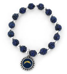 CHARGERS (NAVY BLUE) PEBBLE BEAD STRETCH BRACELET